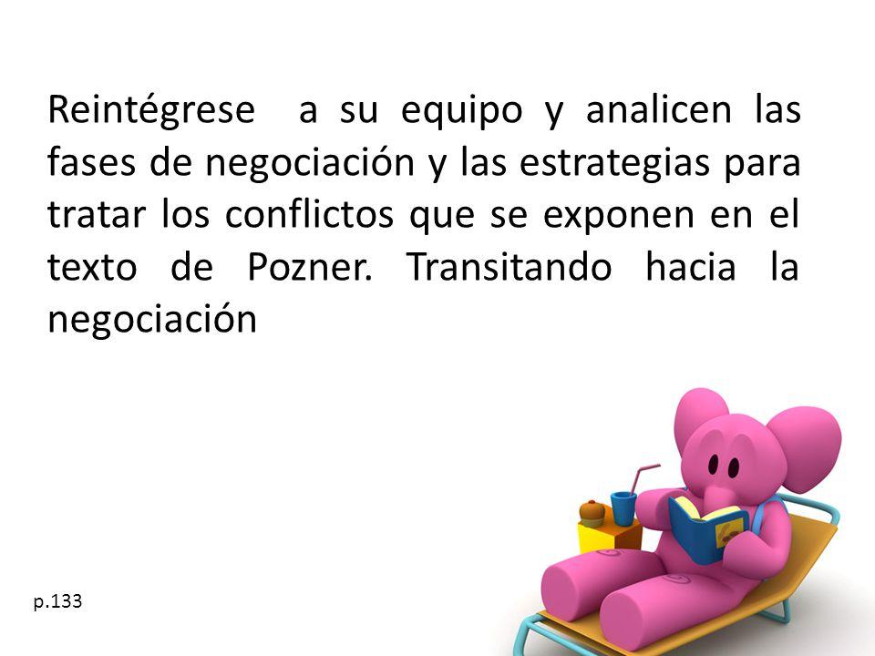 Reintégrese a su equipo y analicen las fases de negociación y las estrategias para tratar los conflictos que se exponen en el texto de Pozner. Transit