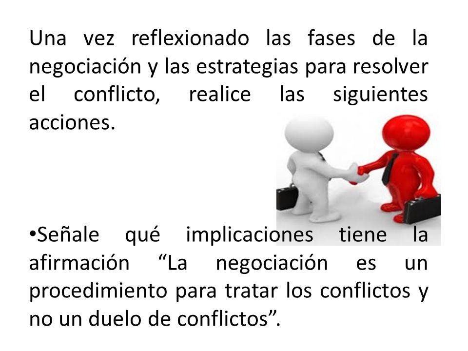 Una vez reflexionado las fases de la negociación y las estrategias para resolver el conflicto, realice las siguientes acciones. Señale qué implicacion