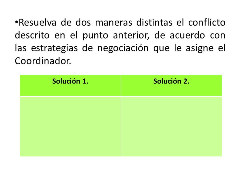 Resuelva de dos maneras distintas el conflicto descrito en el punto anterior, de acuerdo con las estrategias de negociación que le asigne el Coordinad