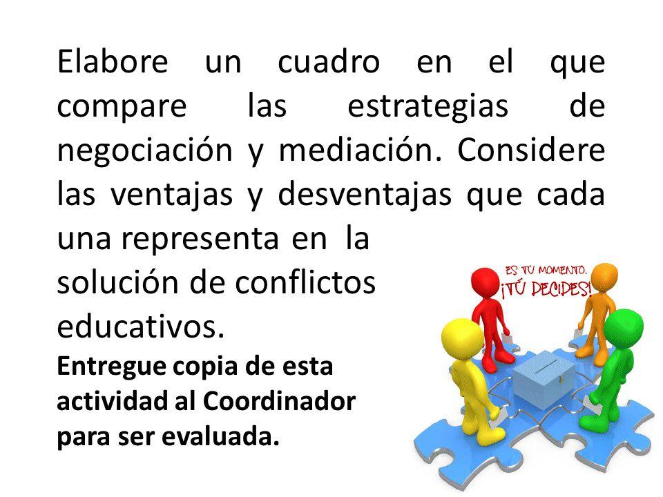Elabore un cuadro en el que compare las estrategias de negociación y mediación. Considere las ventajas y desventajas que cada una representa en la sol