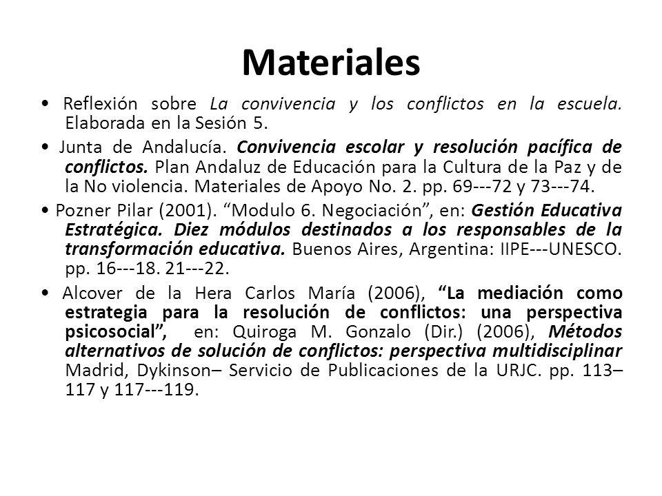 Materiales Reflexión sobre La convivencia y los conflictos en la escuela. Elaborada en la Sesión 5. Junta de Andalucía. Convivencia escolar y resoluci