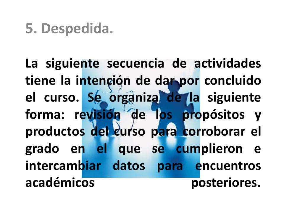 La siguiente secuencia de actividades tiene la intención de dar por concluido el curso. Se organiza de la siguiente forma: revisión de los propósitos