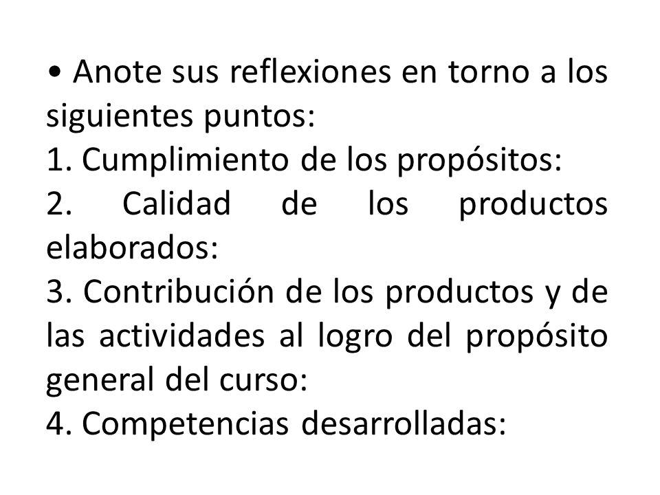 Anote sus reflexiones en torno a los siguientes puntos: 1. Cumplimiento de los propósitos: 2. Calidad de los productos elaborados: 3. Contribución de