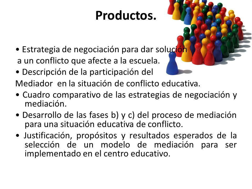Productos. Estrategia de negociación para dar solución a un conflicto que afecte a la escuela. Descripción de la participación del Mediador en la situ