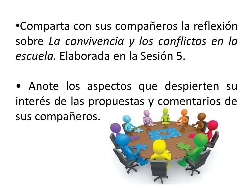 Comparta con sus compañeros la reflexión sobre La convivencia y los conflictos en la escuela. Elaborada en la Sesión 5. Anote los aspectos que despier