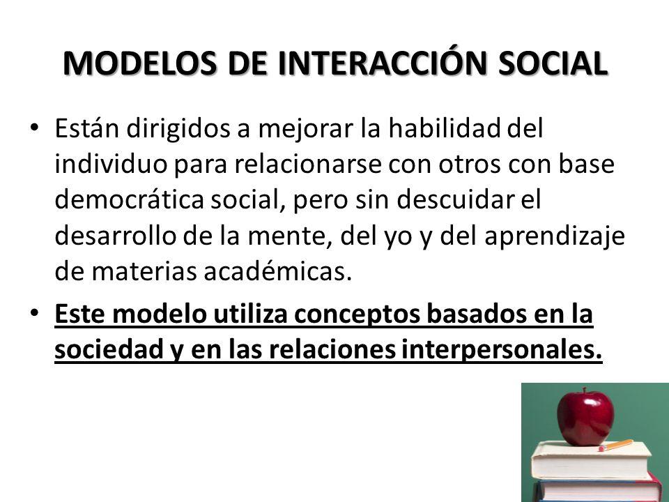 MODELOS DE INTERACCIÓN SOCIAL Modelo de investigación grupal Modelo de jurisprudencia Modelo de investigación social Modelo de laboratorio Se enseña y practica el proceso democrático y a la vez provocan el método científico.