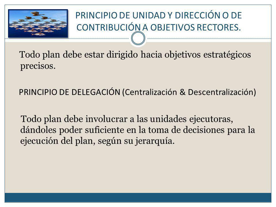 PRINCIPIO DE UNIDAD Y DIRECCIÓN O DE CONTRIBUCIÓN A OBJETIVOS RECTORES.