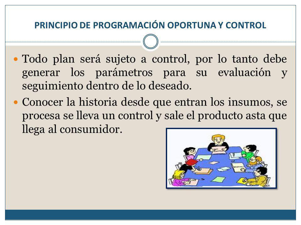 PRINCIPIO DE PROGRAMACIÓN OPORTUNA Y CONTROL Todo plan será sujeto a control, por lo tanto debe generar los parámetros para su evaluación y seguimiento dentro de lo deseado.
