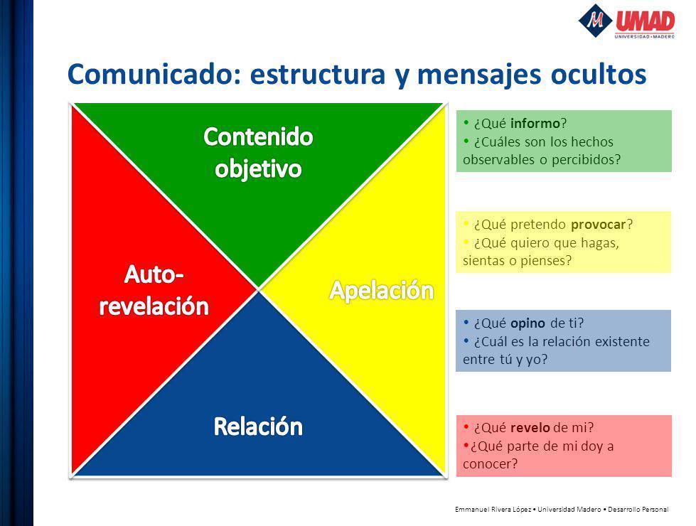 Emmanuel Rivera López Universidad Madero Desarrollo Personal Comunicado: estructura y mensajes ocultos ¿Qué informo.