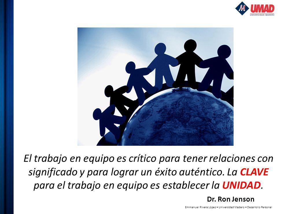 El trabajo en equipo es crítico para tener relaciones con significado y para lograr un éxito auténtico.