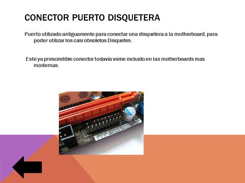 CONECTOR PUERTO DISQUETERA Puerto utilizado antiguamente para conectar una disquetera a la motherboard, para poder utilizar los casi obsoletos Disquetes.