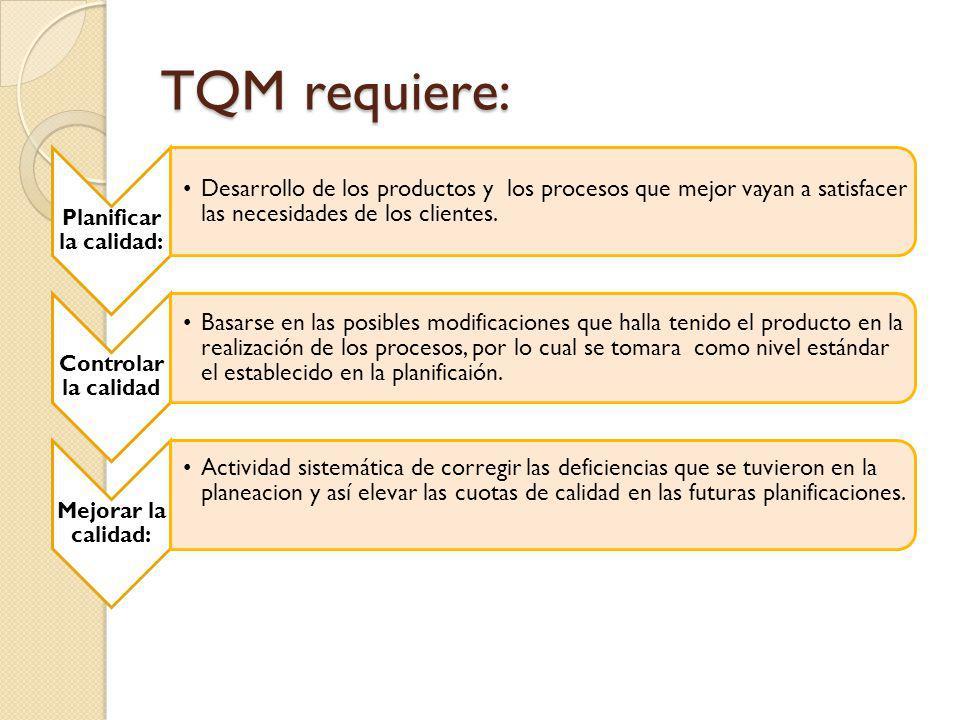 TQM requiere: Planificar la calidad: Desarrollo de los productos y los procesos que mejor vayan a satisfacer las necesidades de los clientes. Controla