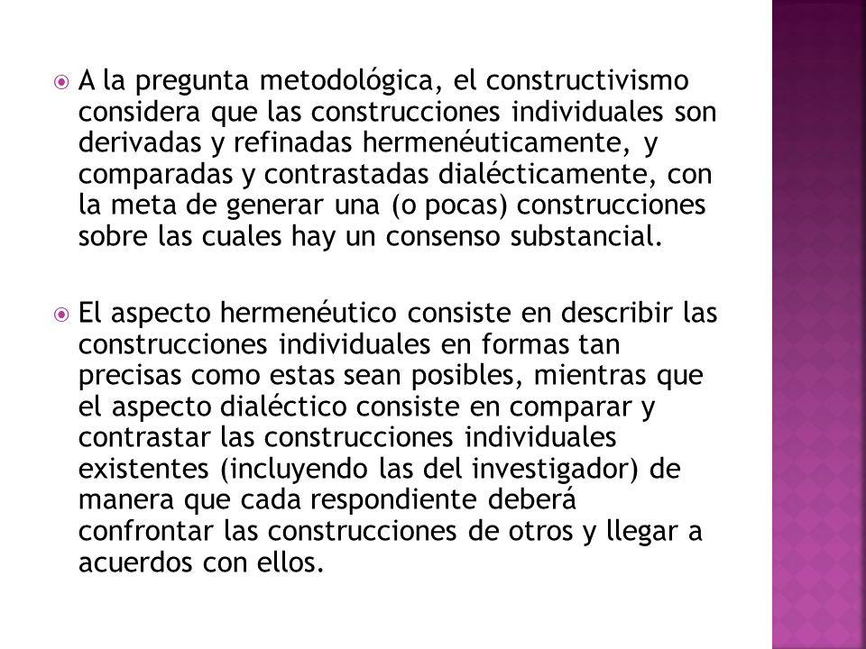 A la pregunta metodológica, el constructivismo considera que las construcciones individuales son derivadas y refinadas hermenéuticamente, y comparadas