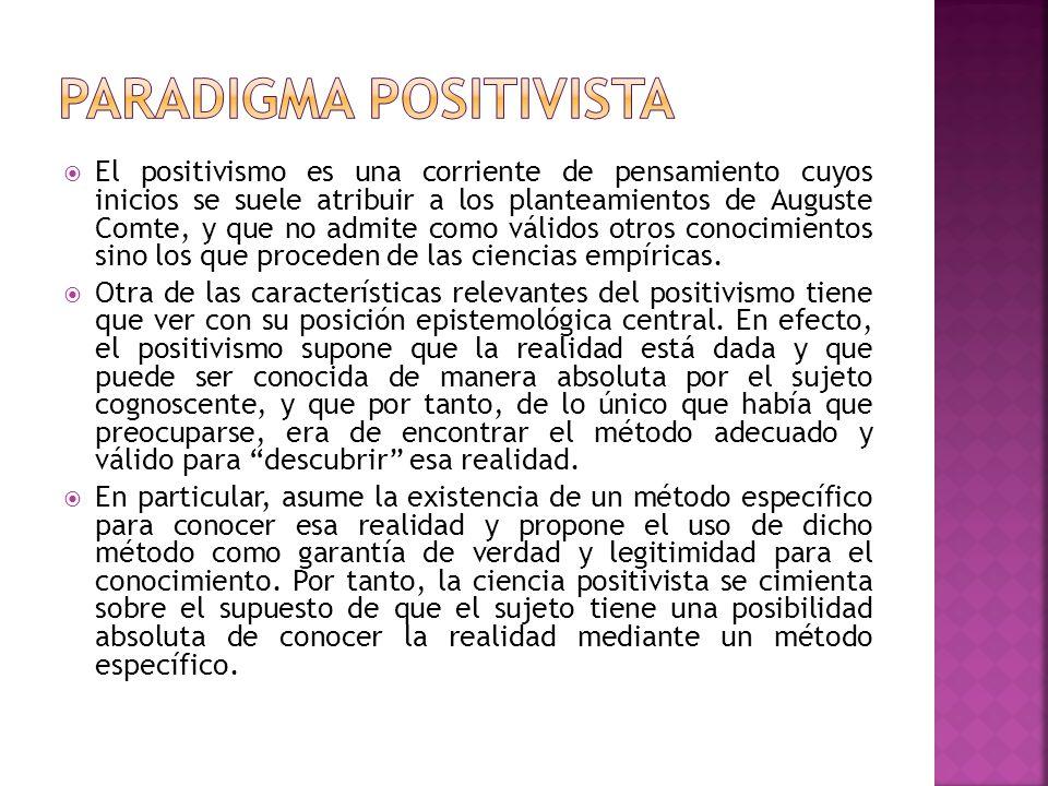 El positivismo es una corriente de pensamiento cuyos inicios se suele atribuir a los planteamientos de Auguste Comte, y que no admite como válidos otr
