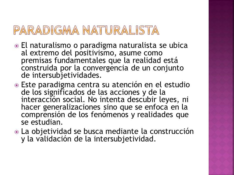 El naturalismo o paradigma naturalista se ubica al extremo del positivismo, asume como premisas fundamentales que la realidad está construida por la c