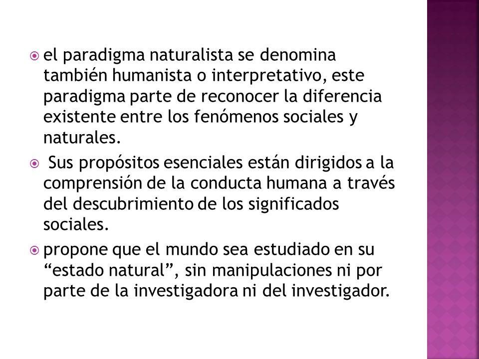 el paradigma naturalista se denomina también humanista o interpretativo, este paradigma parte de reconocer la diferencia existente entre los fenómenos