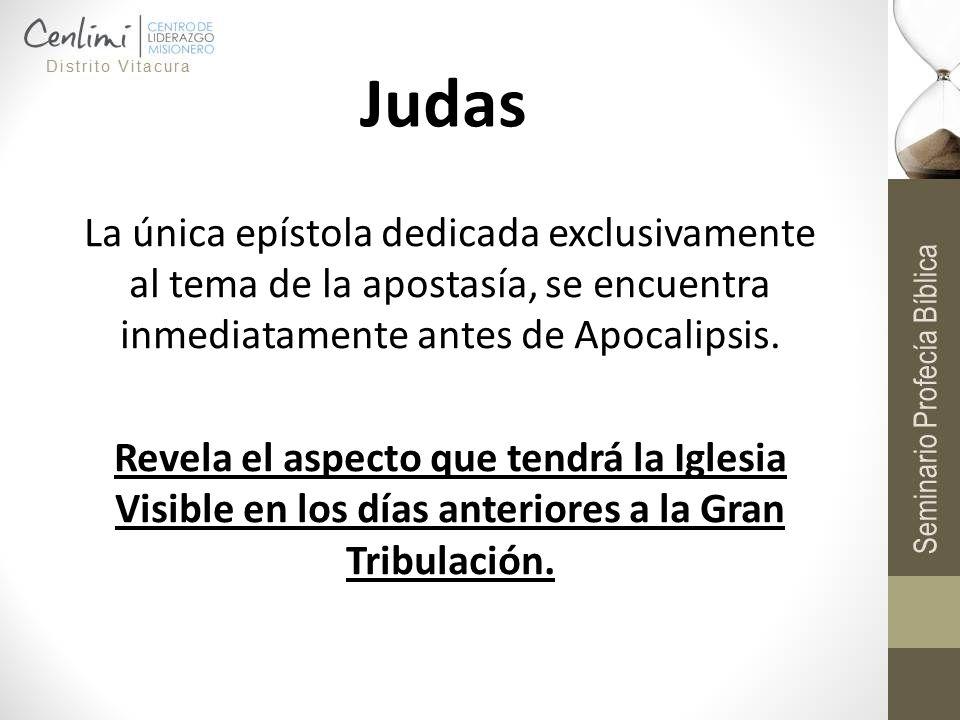 Judas La única epístola dedicada exclusivamente al tema de la apostasía, se encuentra inmediatamente antes de Apocalipsis. Revela el aspecto que tendr