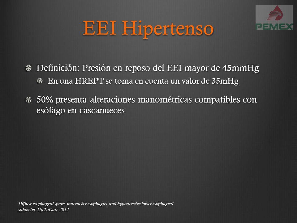 EEI Hipertenso Definición: Presión en reposo del EEI mayor de 45mmHg En una HREPT se toma en cuenta un valor de 35mHg 50% presenta alteraciones manomé