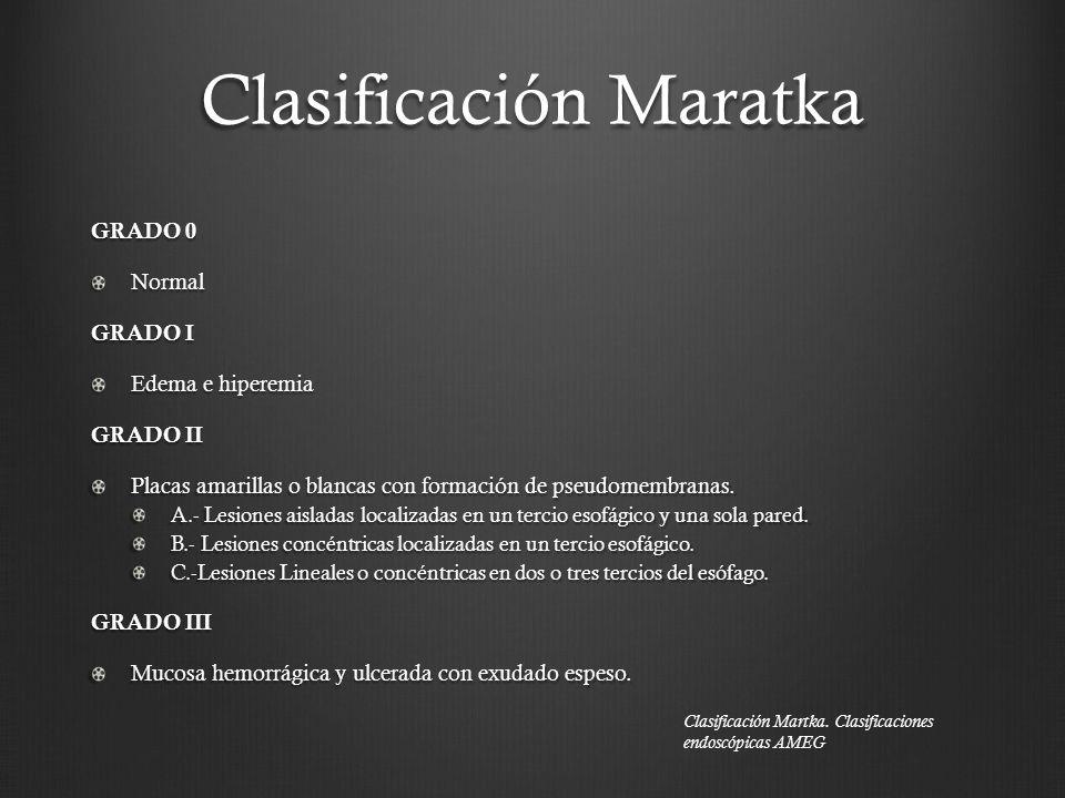 Clasificación Maratka GRADO 0 Normal GRADO I Edema e hiperemia GRADO II Placas amarillas o blancas con formación de pseudomembranas. A.- Lesiones aisl