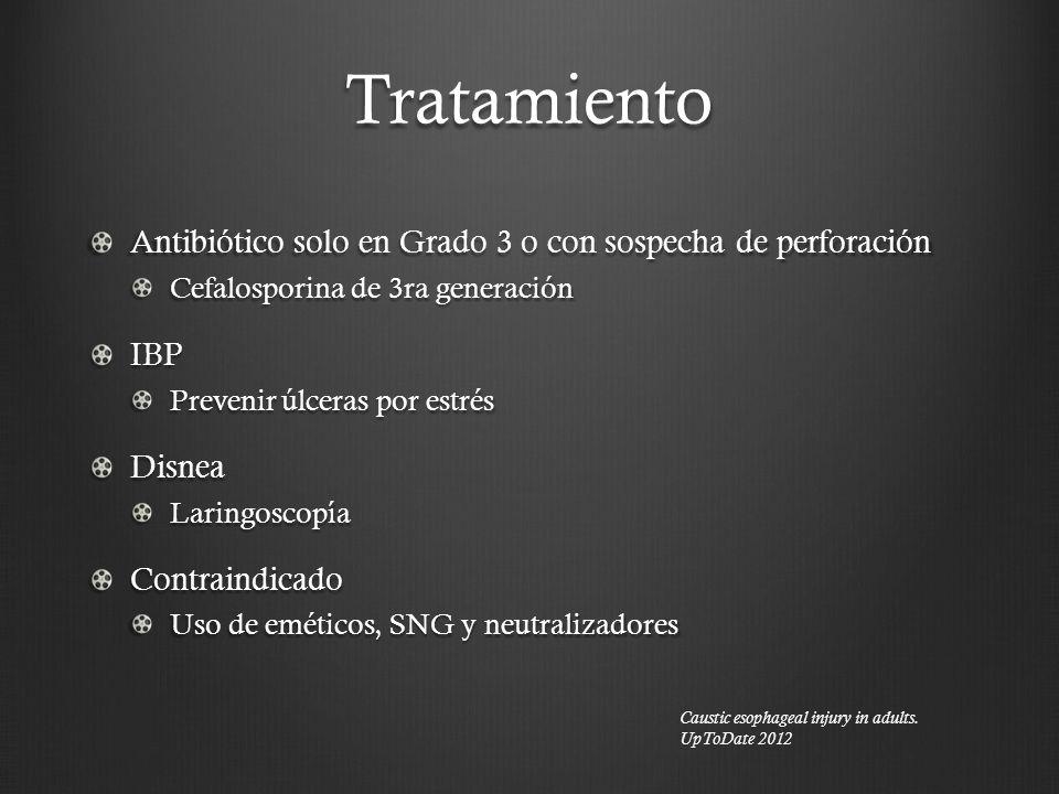 Tratamiento Antibiótico solo en Grado 3 o con sospecha de perforación Cefalosporina de 3ra generación IBP Prevenir úlceras por estrés DisneaLaringosco