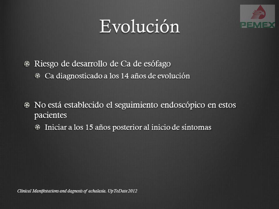 Evolución Riesgo de desarrollo de Ca de esófago Ca diagnosticado a los 14 años de evolución No está establecido el seguimiento endoscópico en estos pa