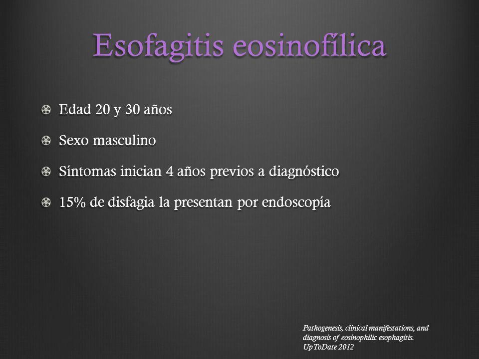 Esofagitis eosinofílica Edad 20 y 30 años Sexo masculino Síntomas inician 4 años previos a diagnóstico 15% de disfagia la presentan por endoscopía Pat