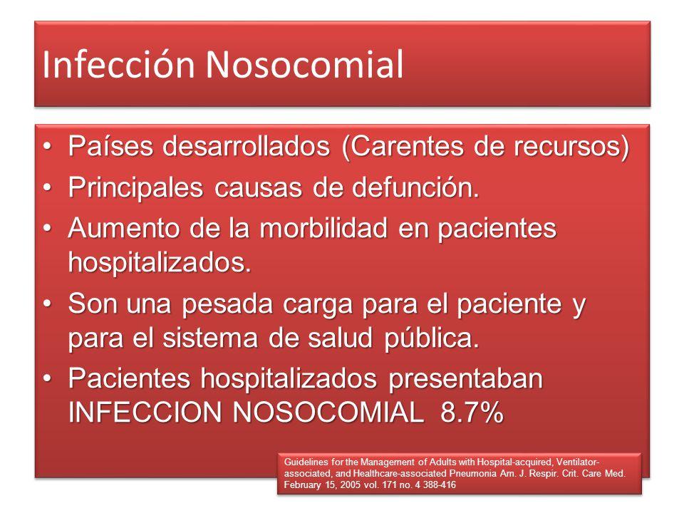 Infección Nosocomial Países desarrollados (Carentes de recursos)Países desarrollados (Carentes de recursos) Principales causas de defunción.Principale