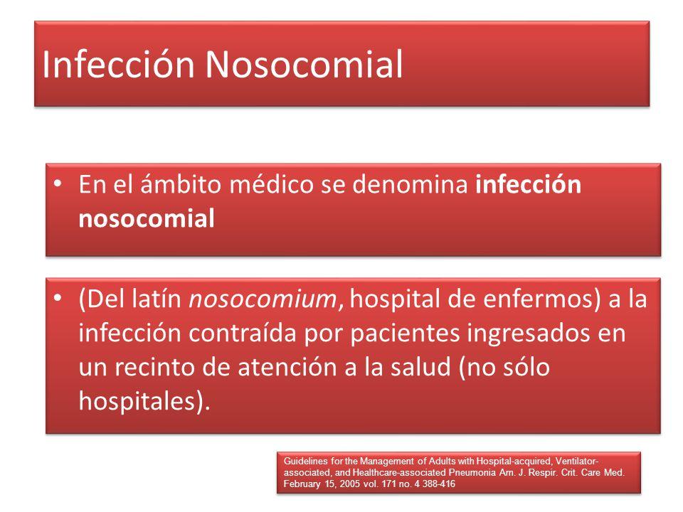 Infección Nosocomial (Del latín nosocomium, hospital de enfermos) a la infección contraída por pacientes ingresados en un recinto de atención a la sal