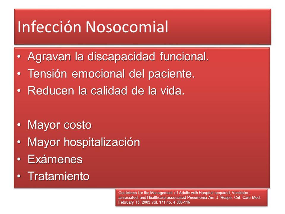 Infección Nosocomial Agravan la discapacidad funcional.Agravan la discapacidad funcional. Tensión emocional del paciente.Tensión emocional del pacient