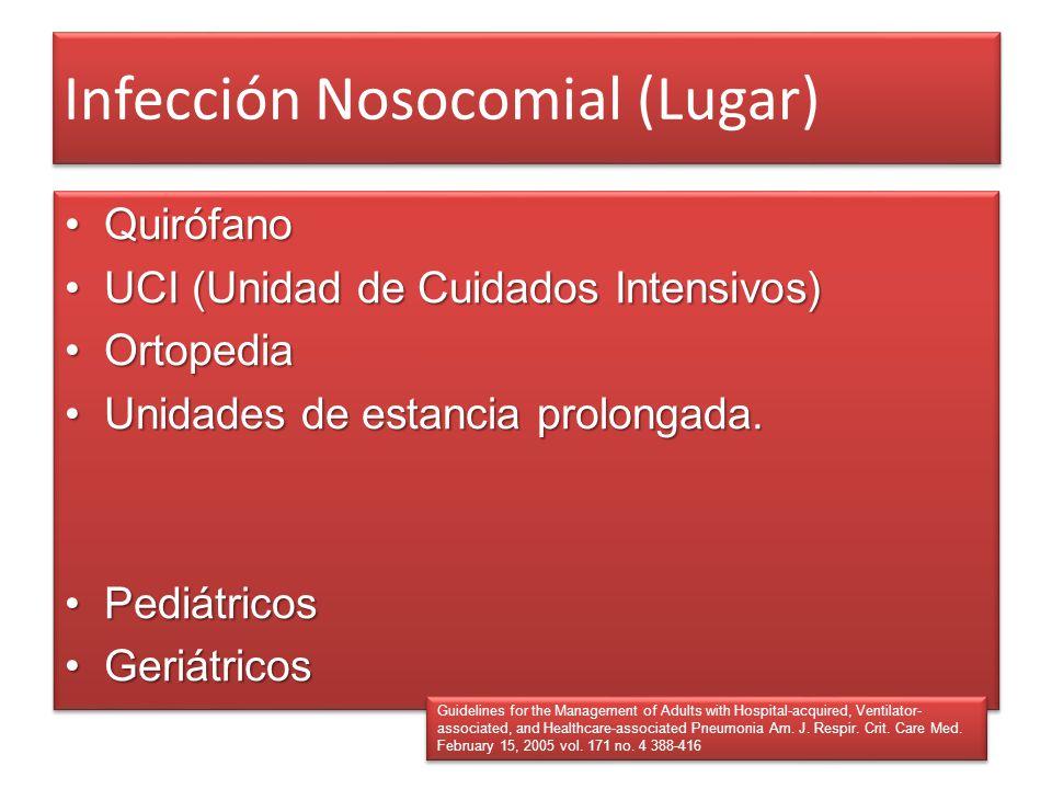 Infección Nosocomial (Lugar) QuirófanoQuirófano UCI (Unidad de Cuidados Intensivos)UCI (Unidad de Cuidados Intensivos) OrtopediaOrtopedia Unidades de