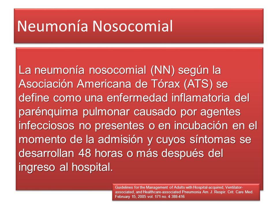 Neumonía Nosocomial La neumonía nosocomial (NN) según la Asociación Americana de Tórax (ATS) se define como una enfermedad inflamatoria del parénquima