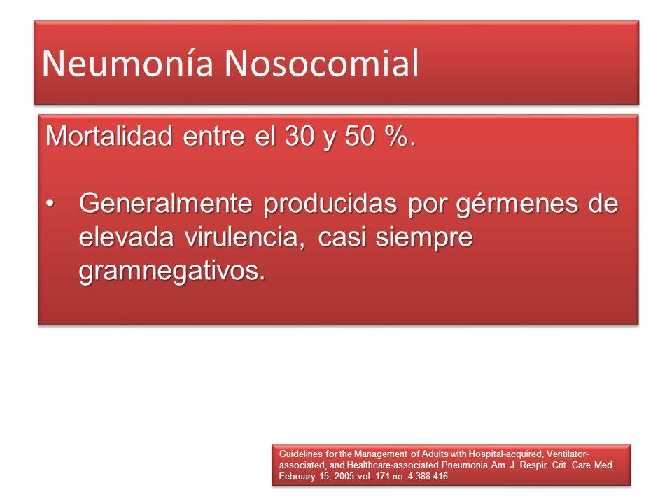 Neumonía Nosocomial Mortalidad entre el 30 y 50 %. Generalmente producidas por gérmenes de elevada virulencia, casi siempre gramnegativos.Generalmente