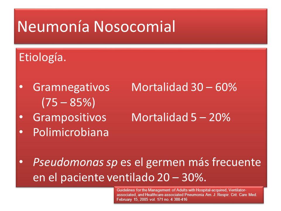 Neumonía Nosocomial Etiología. GramnegativosMortalidad 30 – 60% (75 – 85%) GrampositivosMortalidad 5 – 20% Polimicrobiana Pseudomonas sp es el germen