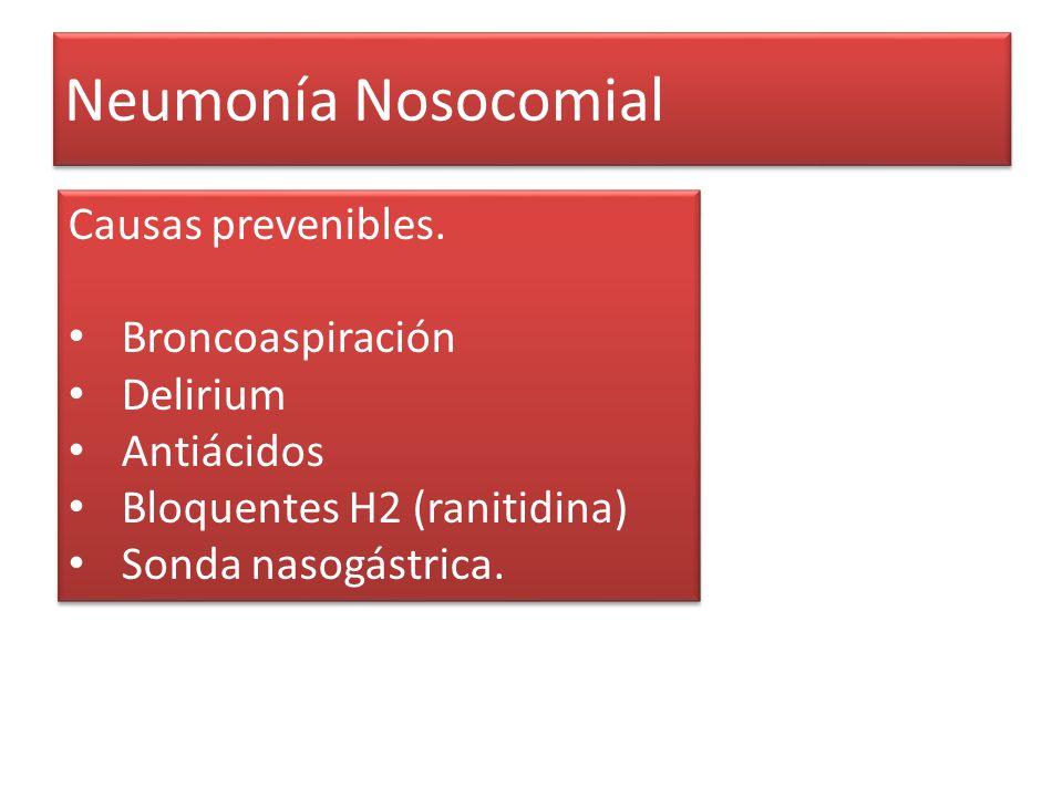 Neumonía Nosocomial Causas prevenibles. Broncoaspiración Delirium Antiácidos Bloquentes H2 (ranitidina) Sonda nasogástrica. Causas prevenibles. Bronco