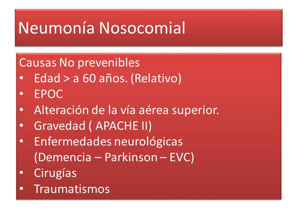 Neumonía Nosocomial Causas No prevenibles Edad > a 60 años. (Relativo) EPOC Alteración de la vía aérea superior. Gravedad ( APACHE II) Enfermedades ne