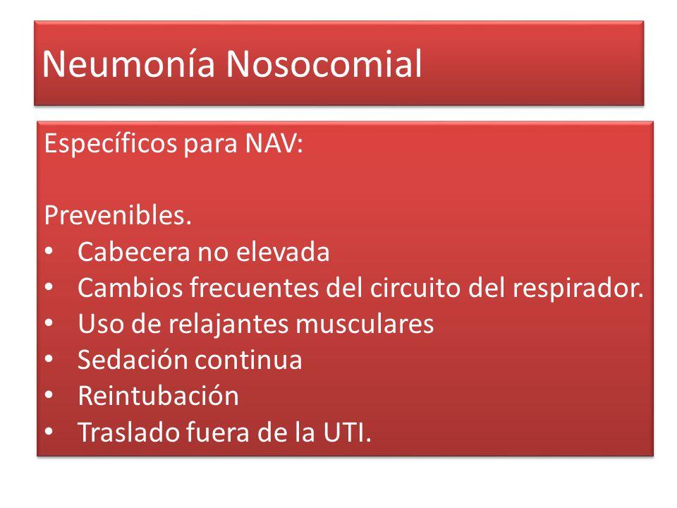 Neumonía Nosocomial Específicos para NAV: Prevenibles. Cabecera no elevada Cambios frecuentes del circuito del respirador. Uso de relajantes musculare