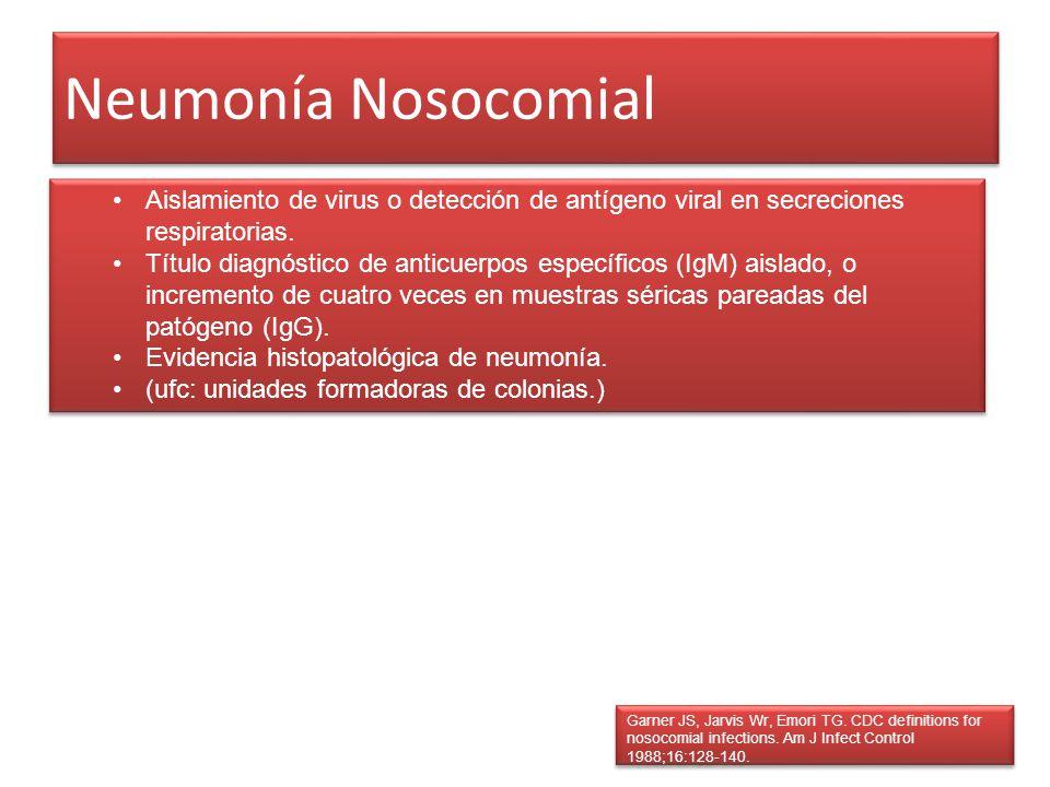 Neumonía Nosocomial Garner JS, Jarvis Wr, Emori TG. CDC definitions for nosocomial infections. Am J Infect Control 1988;16:128-140. Aislamiento de vir