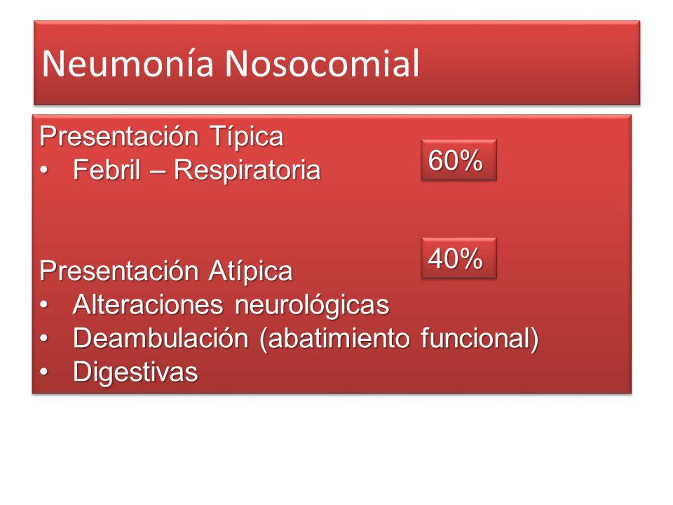 Neumonía Nosocomial Presentación Típica Febril – RespiratoriaFebril – Respiratoria Presentación Atípica Alteraciones neurológicasAlteraciones neurológ