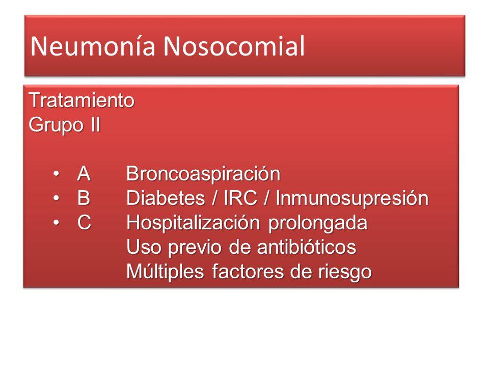 Neumonía Nosocomial Tratamiento Grupo II A BroncoaspiraciónA Broncoaspiración BDiabetes / IRC / InmunosupresiónBDiabetes / IRC / Inmunosupresión CHosp