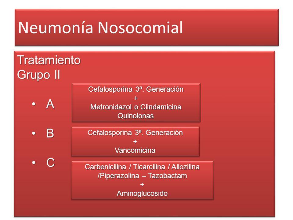 Neumonía Nosocomial Tratamiento Grupo II A B CTratamiento A B C Cefalosporina 3ª. Generación + Metronidazol o Clindamicina Quinolonas Cefalosporina 3ª