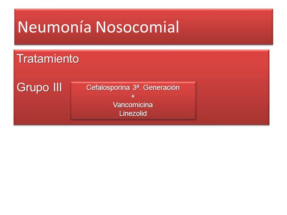 Neumonía Nosocomial Tratamiento Grupo III Tratamiento Cefalosporina 3ª. Generación +VancomicinaLinezolid +VancomicinaLinezolid