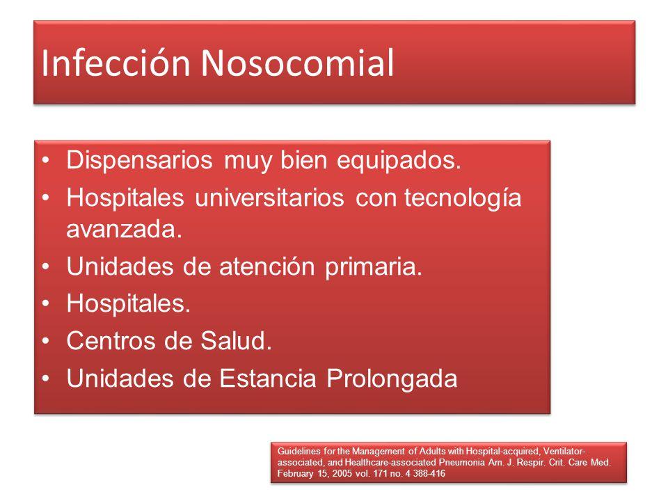 Infección Nosocomial Dispensarios muy bien equipados. Hospitales universitarios con tecnología avanzada. Unidades de atención primaria. Hospitales. Ce