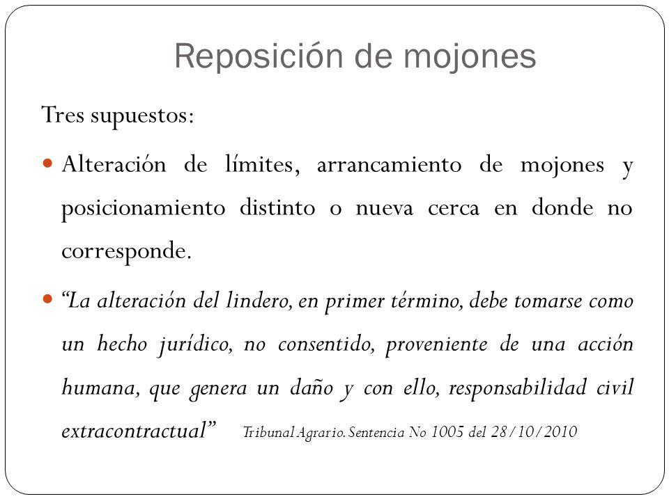 Reposición de mojones Tres supuestos: Alteración de límites, arrancamiento de mojones y posicionamiento distinto o nueva cerca en donde no corresponde