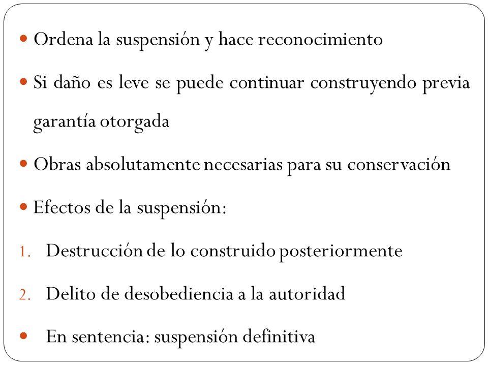 Ordena la suspensión y hace reconocimiento Si daño es leve se puede continuar construyendo previa garantía otorgada Obras absolutamente necesarias par