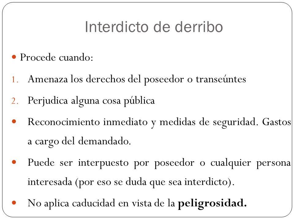 Interdicto de derribo Procede cuando: 1. Amenaza los derechos del poseedor o transeúntes 2. Perjudica alguna cosa pública Reconocimiento inmediato y m