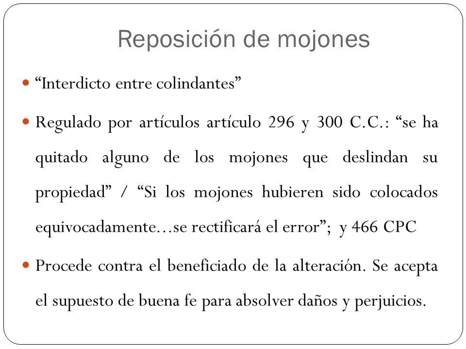 Reposición de mojones Interdicto entre colindantes Regulado por artículos artículo 296 y 300 C.C.: se ha quitado alguno de los mojones que deslindan s