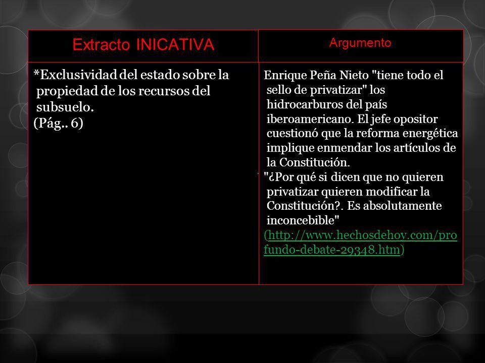 Extracto INICATIVA Argumento *Exclusividad del estado sobre la propiedad de los recursos del subsuelo. (Pág.. 6) Enrique Peña Nieto