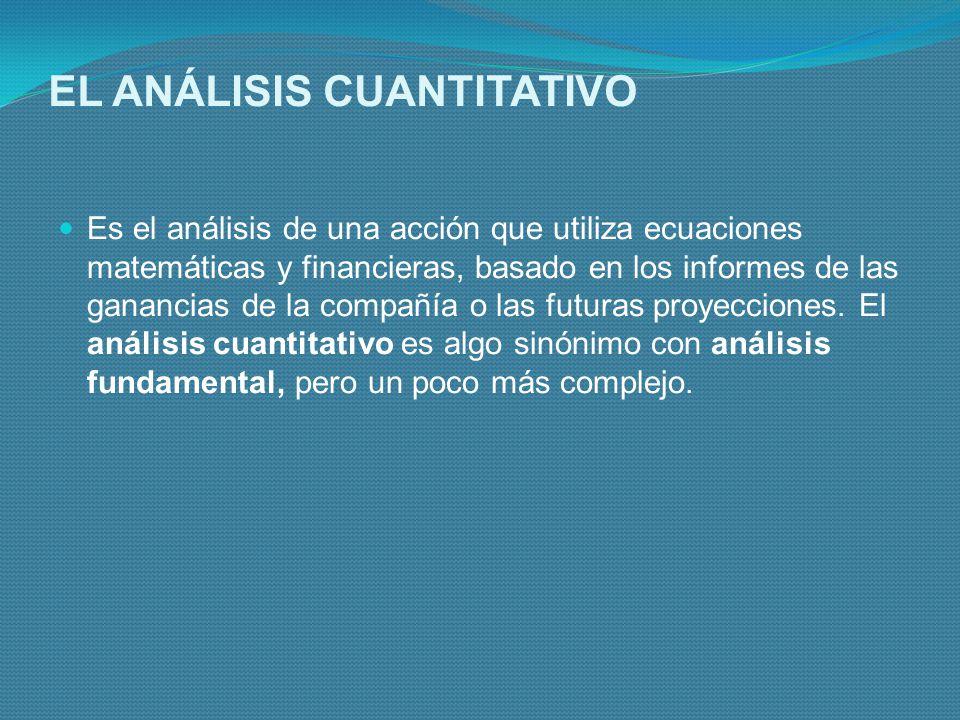 EL ANÁLISIS CUANTITATIVO Es el análisis de una acción que utiliza ecuaciones matemáticas y financieras, basado en los informes de las ganancias de la