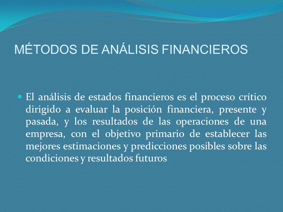 MÉTODOS DE ANÁLISIS FINANCIEROS El análisis de estados financieros es el proceso crítico dirigido a evaluar la posición financiera, presente y pasada,