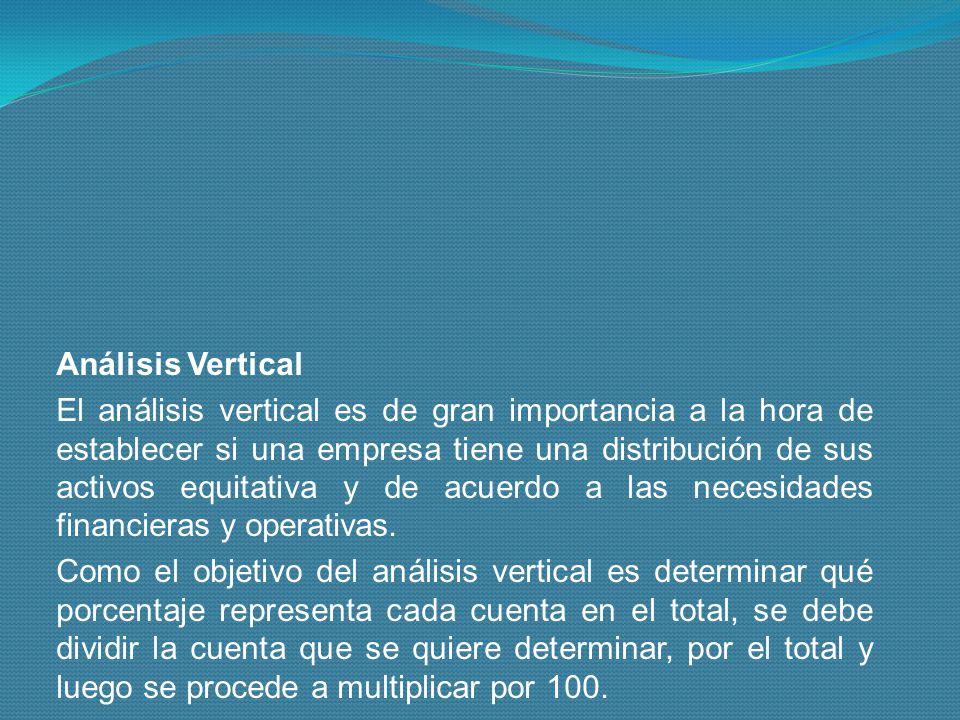 Análisis Vertical El análisis vertical es de gran importancia a la hora de establecer si una empresa tiene una distribución de sus activos equitativa